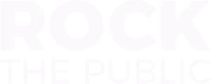 Weißer Schriftzug Logo von Rock the Public
